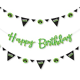 Game Zone - Pixel Video Game Birthday Party Letter Banner Decoration - 36 Banner Cutouts and Happy Birthday Banner Letters