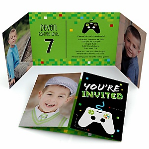 Game Zone - Personalized Pixel Video Game Birthday Party Photo Invitations - Set of 12
