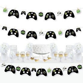 Game Zone - Pixel Video Game Party or Birthday Party DIY Decorations - Clothespin Garland Banner - 44 Pieces
