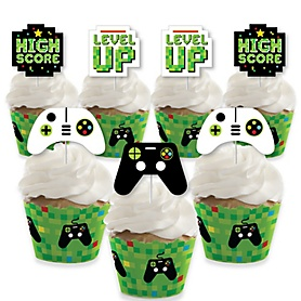 Game Zone - Cupcake Decoration - Pixel Video Game Party or Birthday Party Cupcake Wrappers and Treat Picks Kit - Set of 24