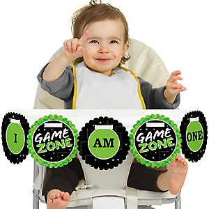 Game Zone 1st Birthday - I am One - First Birthday High Chair Banner