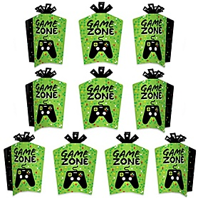Game Zone - Table Decorations - Pixel Video Game Party or Birthday Party Fold and Flare Centerpieces - 10 Count