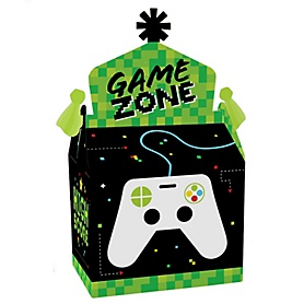 Game Zone - Treat Box Party Favors - Pixel Video Game Party or Birthday Party Goodie Gable Boxes - Set of 12