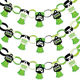 Game Zone - 90 Chain Links and 30 Paper Tassels Decoration Kit - Pixel Video Game Party or Birthday Party Paper Chains Garland - 21 feet