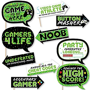 Funny Game Zone - 10 Piece Pixel Video Game Party or Birthday Party Photo Booth Props Kit