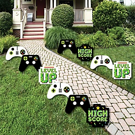 Game Zone - Lawn Decorations - Outdoor Pixel Video Game Party or Birthday Party Yard Decorations - 10 Piece