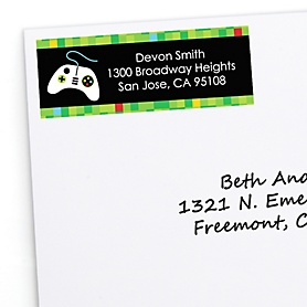 Game Zone - Personalized Pixel Video Game Party or Birthday Party Return Address Labels - 30 ct