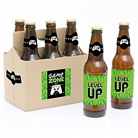 Game Zone - Decorations for Women and Men - 6 Pixel Video Game Birthday Party Beer Bottle Label Stickers and 1 Carrier