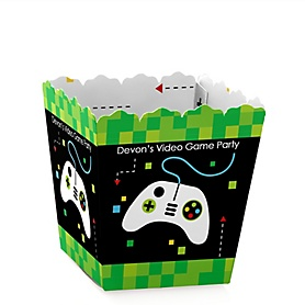 Game Zone - Party Mini Favor Boxes - Personalized Pixel Video Game Party or Birthday Party Treat Candy Boxes - Set of 12