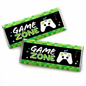 Game Zone -  Candy Bar Wrapper Pixel Video Game Party or Birthday Party Favors - Set of 24