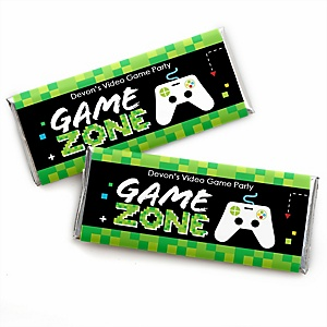 Game Zone - Personalized Candy Bar Wrapper Pixel Video Game Party or Birthday Party Favors - Set of 24