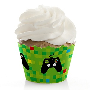 Game Zone - Pixel Video Game Party or Birthday Party Decorations - Party Cupcake Wrappers - Set of 12