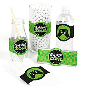 Game Zone - DIY Party Supplies - Pixel Video Game Party or Birthday Party DIY Wrapper Favors and Decorations - Set of 15