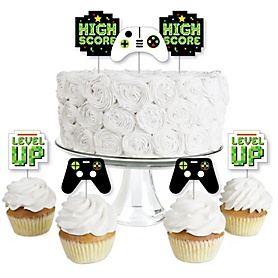 Game Zone - Dessert Cupcake Toppers - Pixel Video Game Party or Birthday Party Clear Treat Picks - Set of 24