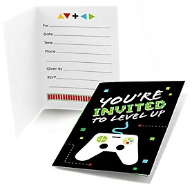 Game Zone - Fill In  Pixel Video Game Party or Birthday Party Invitations  - 8 ct