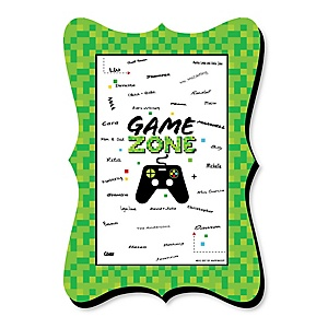Game Zone - Unique Alternative Guest Book - Pixel Video Game Party or Birthday Party Signature Mat