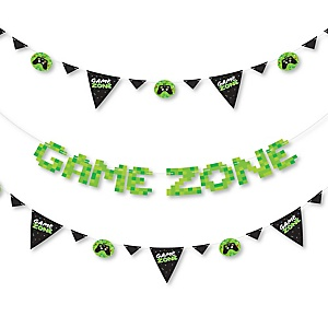 Game Zone - Pixel Video Game Party Letter Banner Decoration - 36 Banner Cutouts and Game Zone Banner Letters