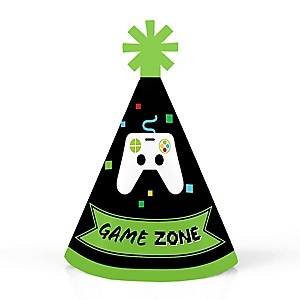 Game Zone - Personalized Mini Cone Pixel Video Game Party or Birthday Party Hats - Small Little Party Hats - Set of 10