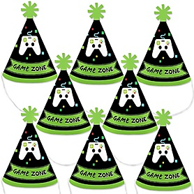Game Zone - Mini Cone Pixel Video Game Party or Birthday Party Hats - Small Little Party Hats - Set of 8