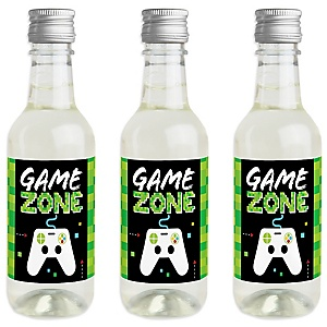 Game Zone - Mini Wine and Champagne Bottle Label Stickers - Pixel Video Game Party or Birthday Party Favor Gift - For Women and Men - Set of 16