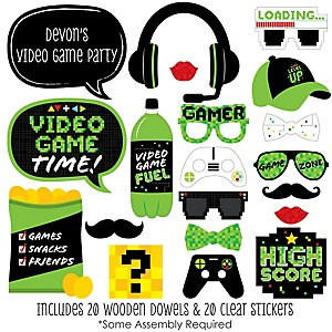 Game Zone - 20 Piece Pixel Video Game Party or Birthday Party Photo Booth Props Kit