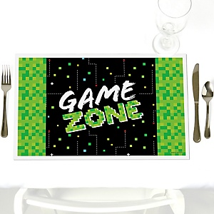 Game Zone - Pixel Video Game - Party Table Decorations - Party Placemats - Set of 12