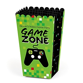 Game Zone - Personalized Pixel Video Game Party or Birthday Party Favor Popcorn Treat Boxes - Set of 12