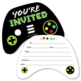 Game Zone - Shaped Fill-In Invitations - Pixel Video Game Party or Birthday Party Invitation Cards with Envelopes - Set of 12