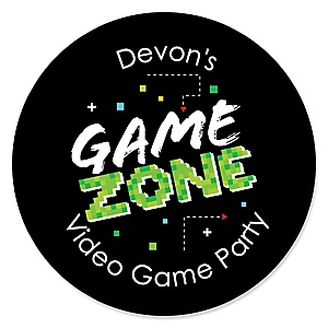 Game Zone - Personalized Pixel Video Game Party or Birthday Party Sticker Labels - 24 ct