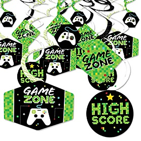 Game Zone - Pixel Video Game Party or Birthday Party Hanging Decor - Party Decoration Swirls - Set of 40