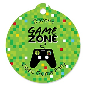 Game Zone - Round Personalized Pixel Video Game Party Tags - 20 ct