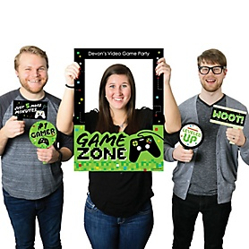 Game Zone - Personalized Pixel Video Game Party or Birthday Party Selfie Photo Booth Picture Frame and Props - Printed on Sturdy Material