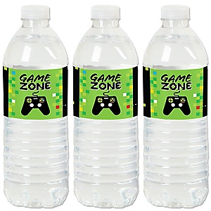 Game Zone - Pixel Video Game - Party Water Bottle Sticker Labels - Set of 20