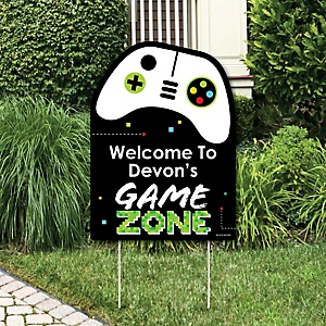Game Zone - Party Decorations - Pixel Video Game Party or Birthday Party Personalized Welcome Yard Sign