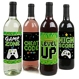 Game Zone - Pixel Video Game Birthday Party Decorations for Women and Men - Wine Bottle Label Stickers - Set of 4