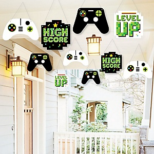 Hanging Game Zone - Outdoor Pixel Video Game Party or Birthday Party Hanging Porch and Tree Yard Decorations - 10 Pieces