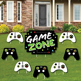 Game Zone - Yard Sign and Outdoor Lawn Decorations - Pixel Video Game Party or Birthday Party Yard Signs - Set of 8