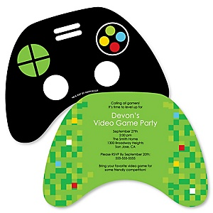 Game Zone - Shaped Pixel Video Game Party invitations - Set of 12
