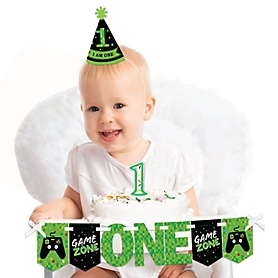 Game Zone 1st Birthday - First Birthday Girl or Boy Smash Cake Decorating Kit - High Chair Decorations