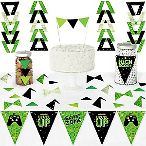 Game Zone - DIY Pennant Banner Decorations - Pixel Video Game Party or Birthday Party Triangle Kit - 99 Pieces
