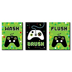 Game Zone - Kids Bathroom Rules Wall Art - 7.5 x 10 inches - Set of 3 Signs - Wash, Brush, Flush