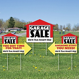 Garage Sale Signs - Yard Sign with Stakes - Double Sided Outdoor Lawn Sign - Set of 3