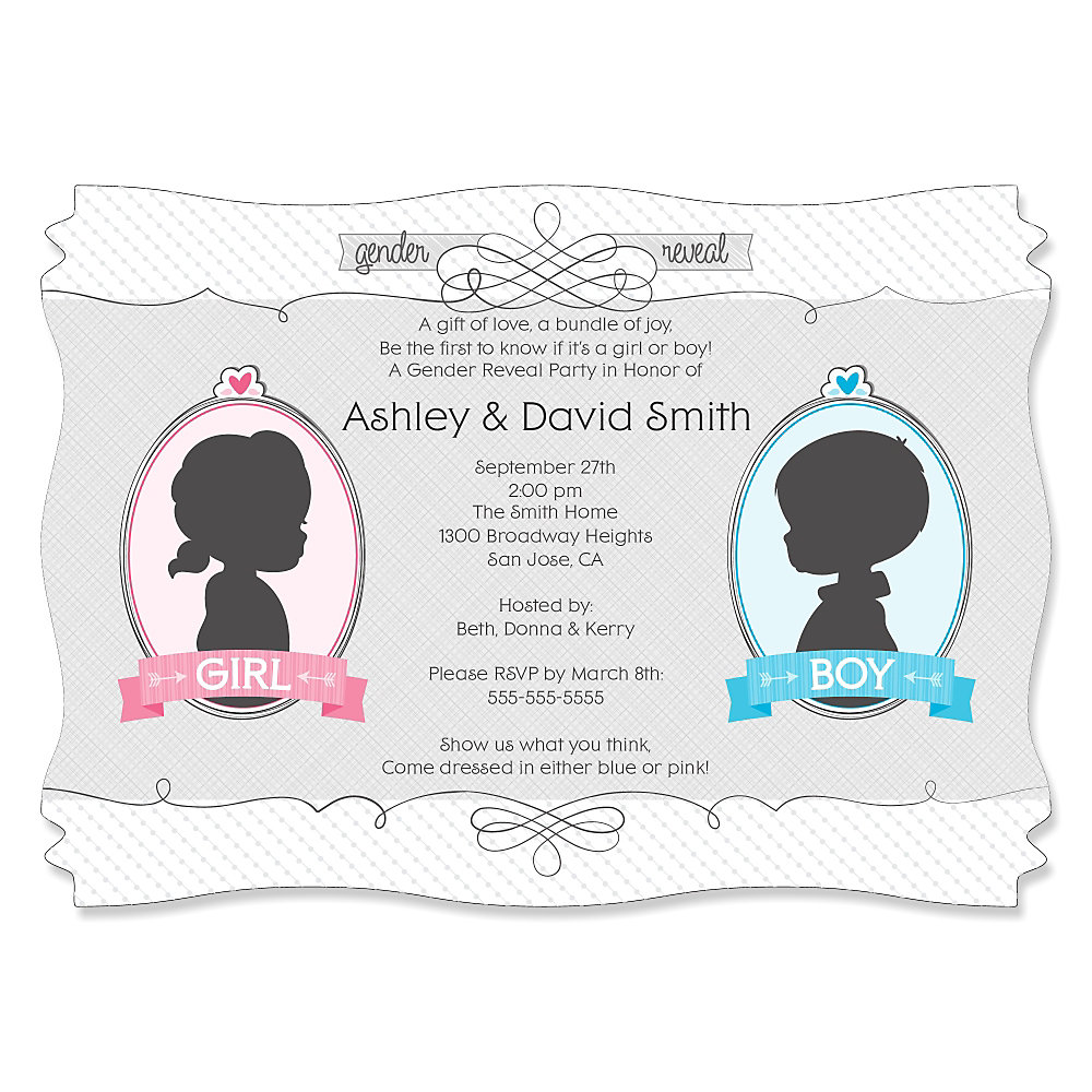 Gender Reveal - Personalized Party Invitations | BigDotOfHappiness.com