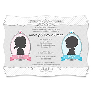 Gender Reveal - Personalized Party Invitations - Set of 12