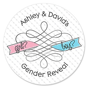 Gender Reveal - Personalized Party Sticker Labels - 24 ct
