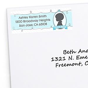 Gender Reveal Boy - Personalized Baby Shower Return Address Labels - 30 Count