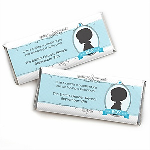 Gender Reveal - Boy - Personalized Candy Bar Wrapper Party Favors - Set of 24