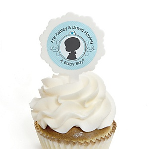 Gender Reveal - Boy - Personalized Party Cupcake Picks and Sticker Kit - 12 ct