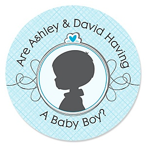 Gender Reveal - Boy - Personalized Party Sticker Labels - 24 ct