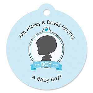 Gender Reveal - Boy - Round Personalized Gender Reveal Tags - 20 ct